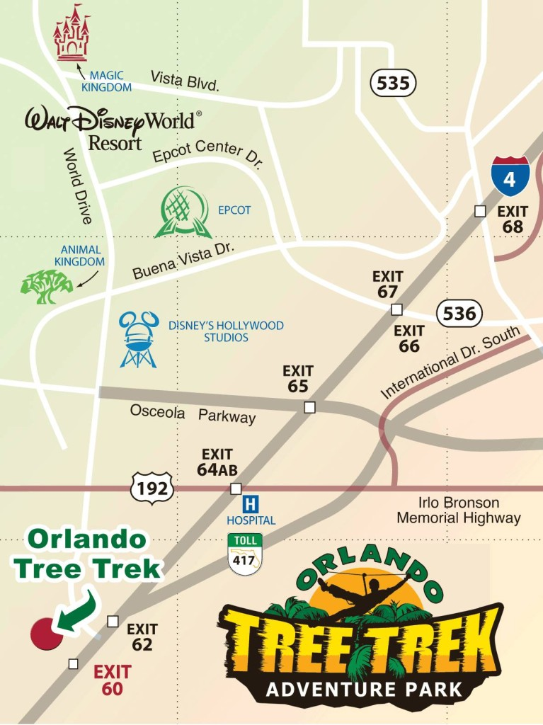 mapa do parque orlando tree trek