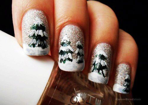 arvore de natal decorada nail art