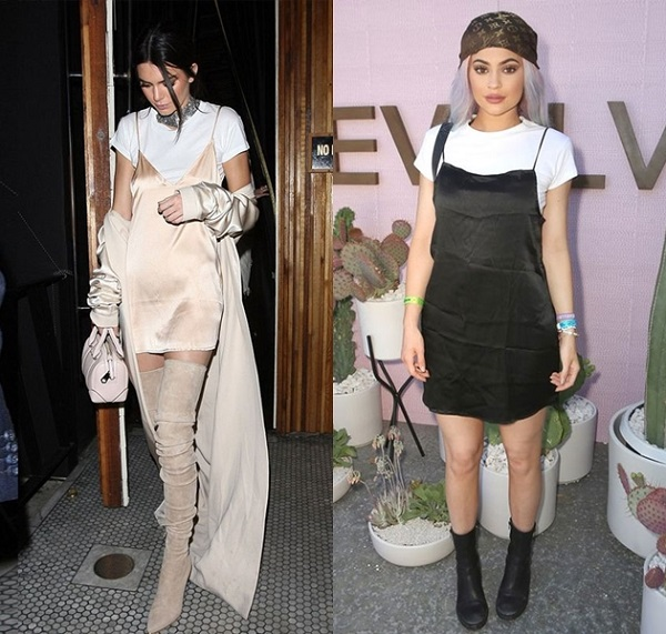 kylie e kendal jenner slip dress