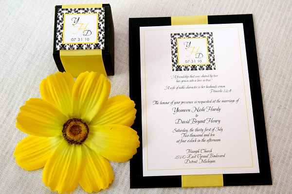 Engaging yellow wedding invitations to create your own artistic convite amarelo e preto casamento stopboris Gallery