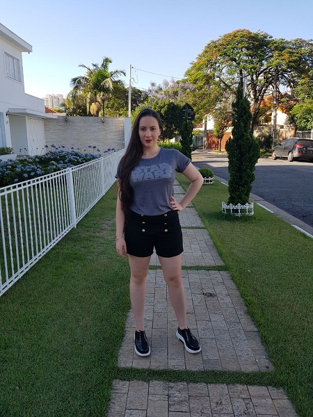 cintura alta shorts e camiseta star wars