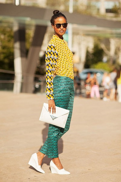 look estampado verde e amarelo fashion